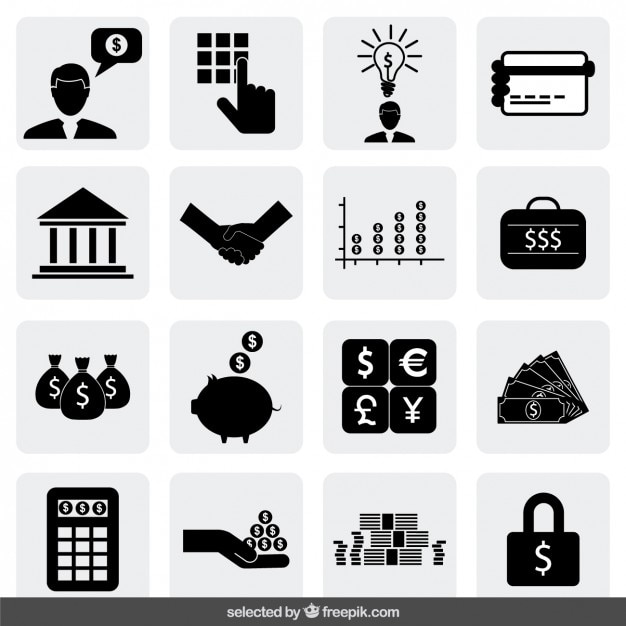 Bank icons collection Free Vector