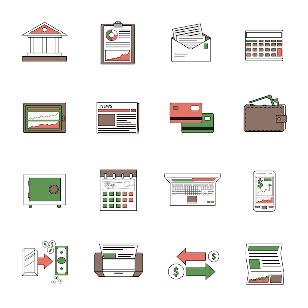 Bank icons outline Free Vector