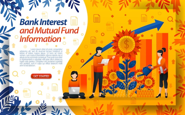 Bank of interest and mutual fund with illustrations watering flowers Premium Vector