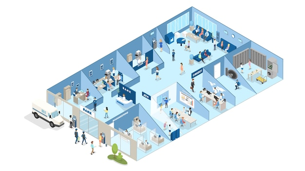 Bank interior isometric. people standing in the bank office and making financial operations with money. reception, money exchange and credit department. isolated vector illustration Premium Vector