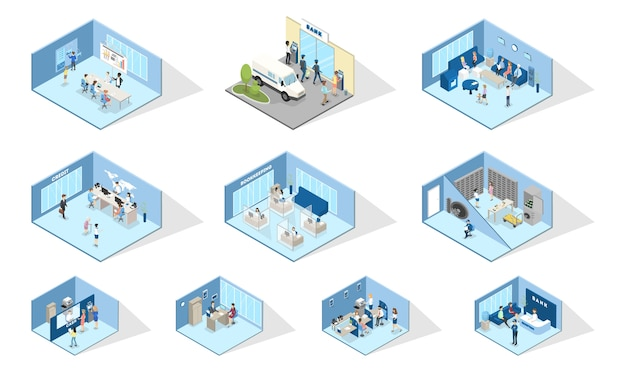 Bank interior. set of isometric bank offices. people making financial operations with money. entrance, reception, atm, money exchange and credit department. isolated vector illustration Premium Vector
