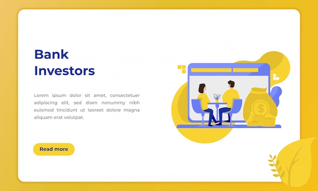 Bank investors, illustration with the theme of the banking industry for landing page Premium Vector