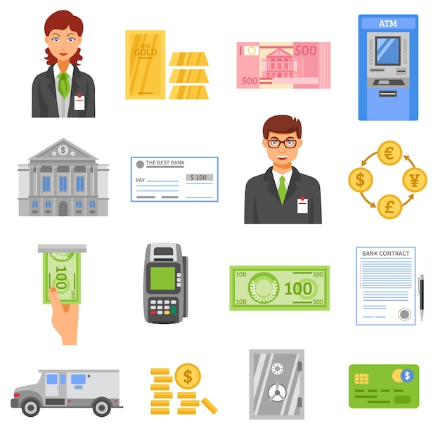 Bank isolated color icons Free Vector