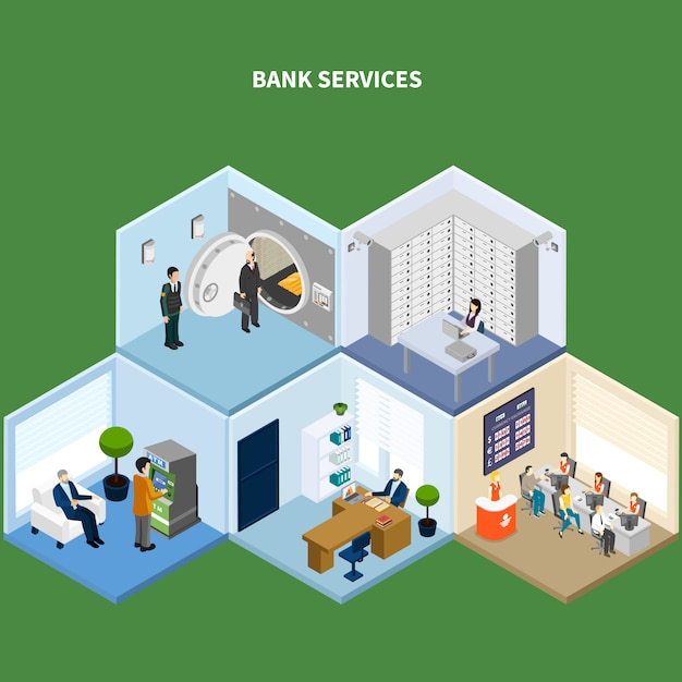 Bank isometric with conceptual interior images representing different kinds of banking accommodations with human characters vector illustration Free Vector