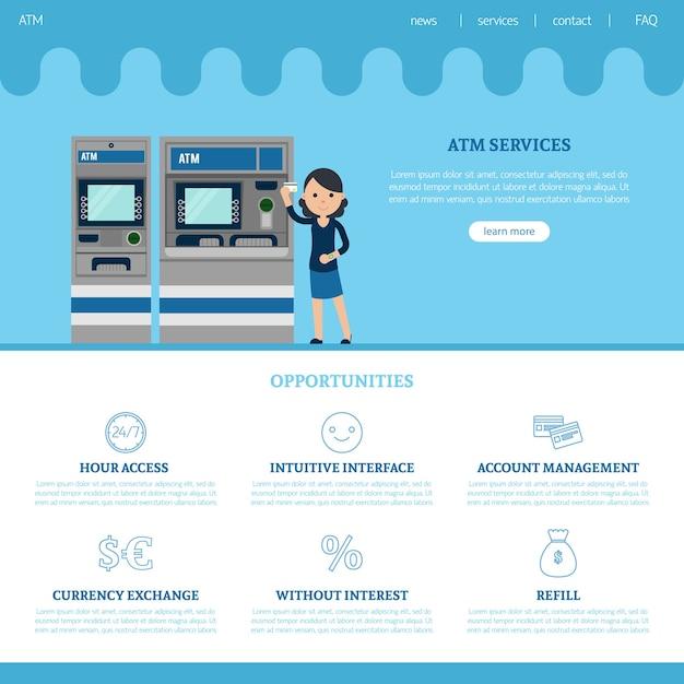 Modello di pagina di destinazione della banca Vettore gratuito
