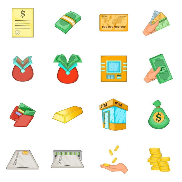 Bank loan credit icons set Premium Vector