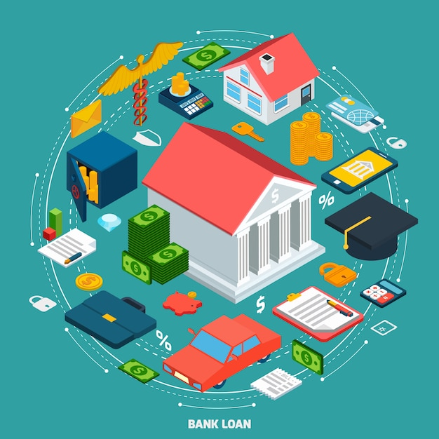 Bank loan isometric concept Free Vector