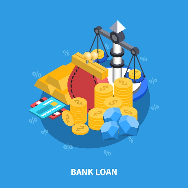 Bank loan isometric round composition Free Vector
