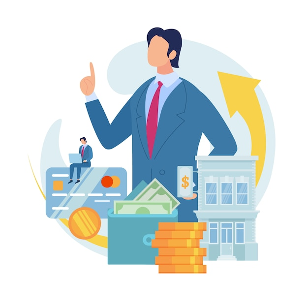 Bank loan for small business flat vector concept Premium Vector