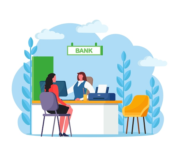Bank manager consulting client about cash or deposit, credit operations. banking employee, insurance agent sitting at desk with customer Premium Vector