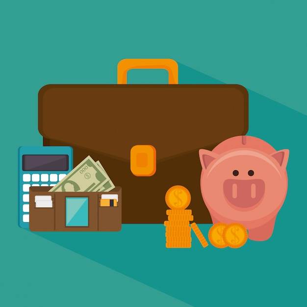 Bank money and investment Premium Vector