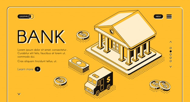 Bank and money isometric thin line illustration of dollar money and cash cit van Free Vector