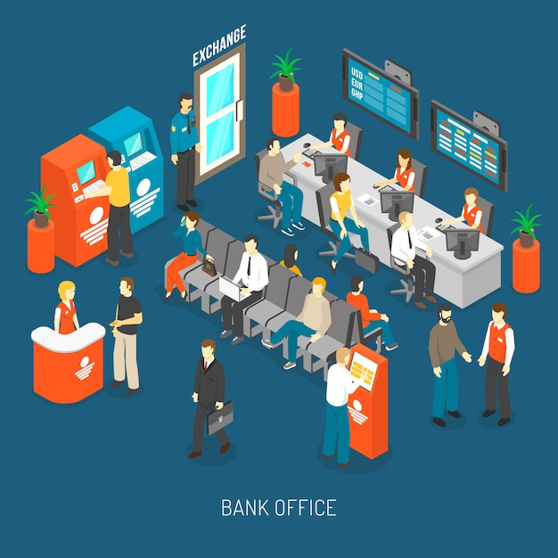 Bank office interior illustration Free Vector