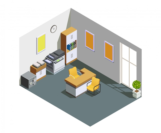 Bank office interior isometric composition Free Vector