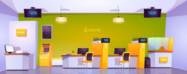 Atm、キャッシュボックス、テーブル付きの銀行オフィスインテリア 無料ベクター