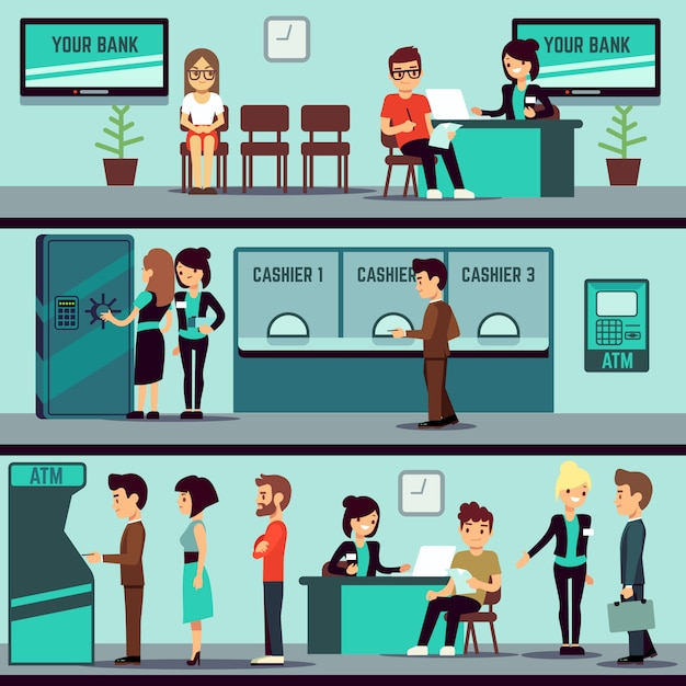 Bank office interior with people Premium Vector