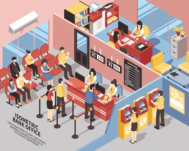 Bank office isometric illustration Free Vector