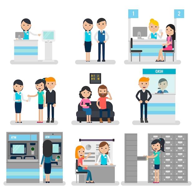 Collezione bank people flat Vettore gratuito