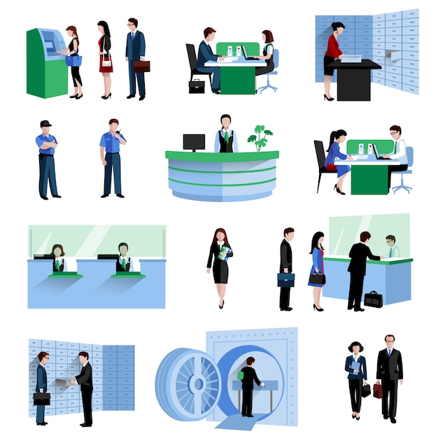 Bank people set Free Vector