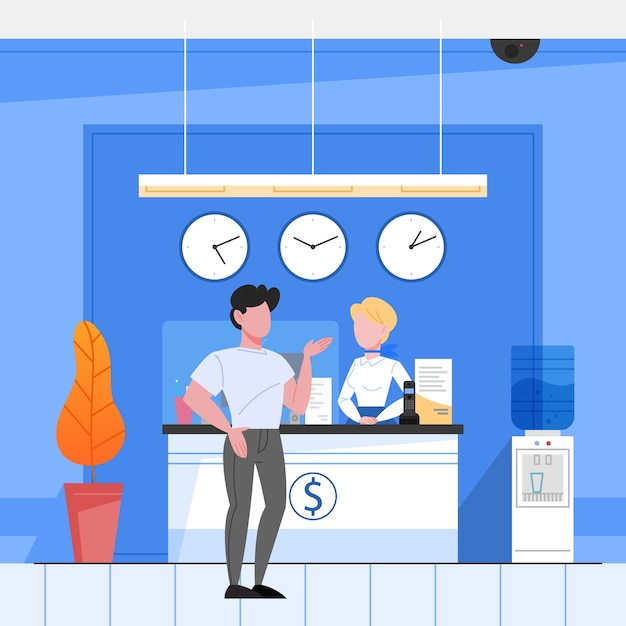 Bank reception concept. woker standing at the counter and helping a customer. financial operation in bank.  isometric illustration Premium Vector