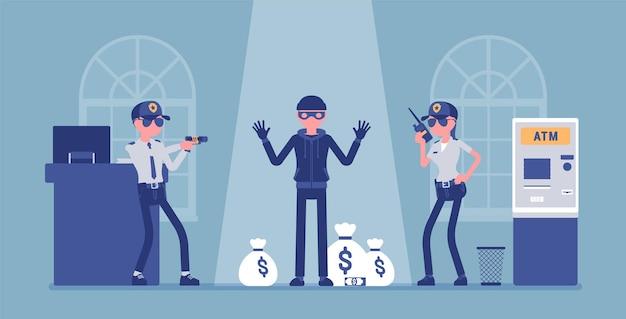 경찰 그림에 잡힌 은행 강도 프리미엄 벡터