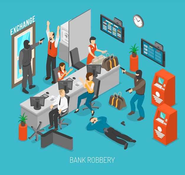 Bank robbery illustration Free Vector