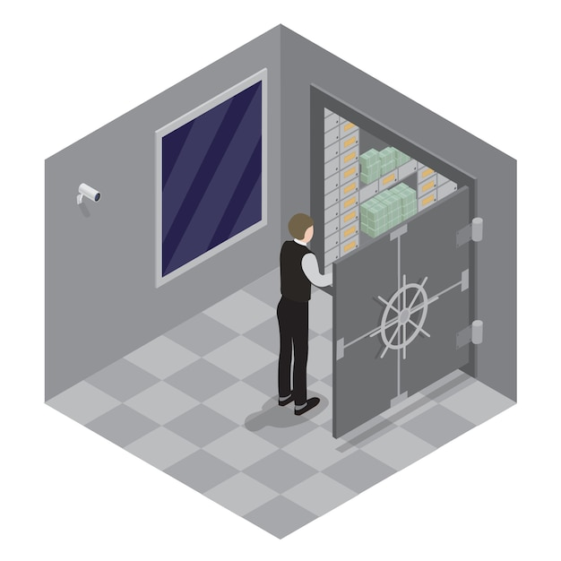 Bank safe. open door of the bank safe. bank vault. banker opens the safe with money. isometric bank. Premium Vector