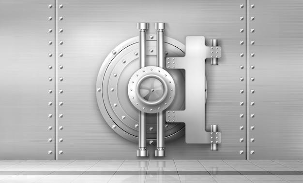 Bank safe and vault door, metal steel round gate Free Vector