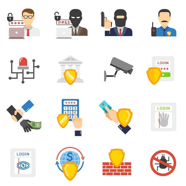Bank security flat icons set Free Vector