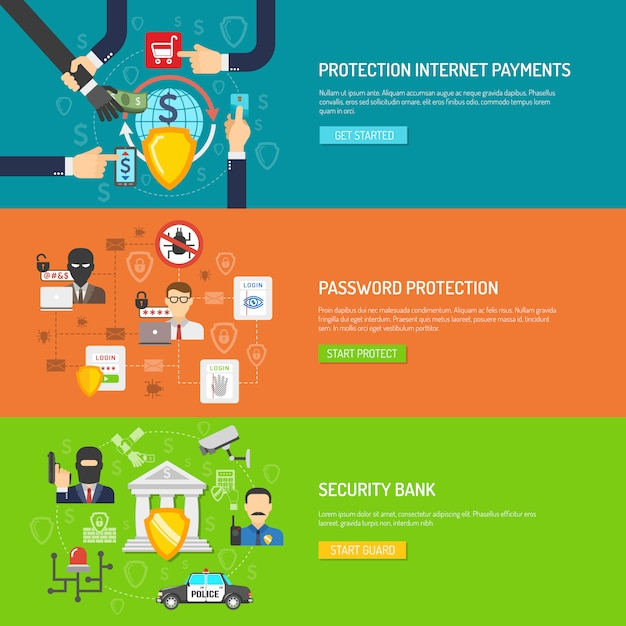 銀行セキュリティ水平バナーセット 無料ベクター