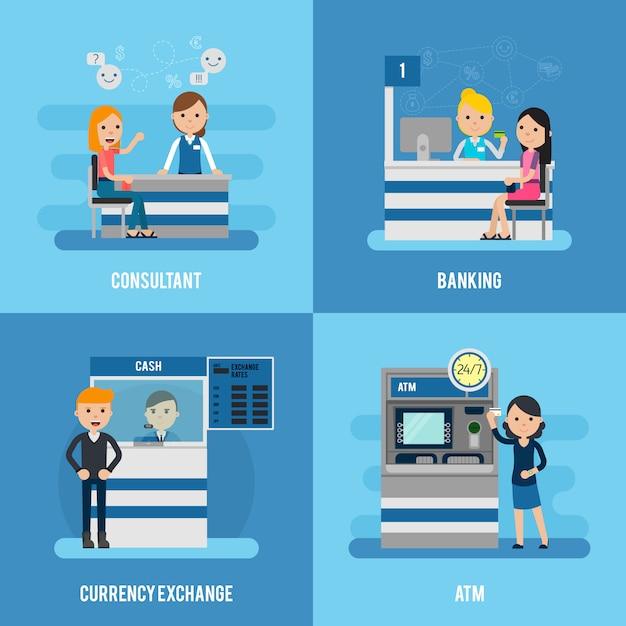 Концепция квартиры банковских услуг Бесплатные векторы