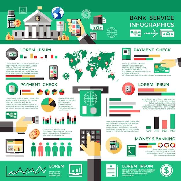 Банк сервис инфографика Бесплатные векторы