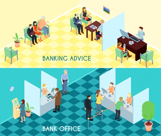 Bank service isometric banners Free Vector