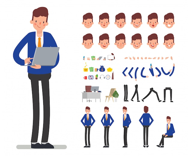 Bank staff manager character for animation mouth. Premium Vector