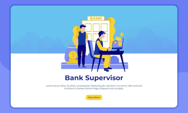 Of bank supervisor, landing page for banking activities Premium Vector