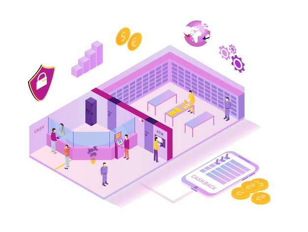 Bank system outside and inside Premium Vector