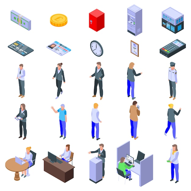 Bank teller icons set Premium Vector