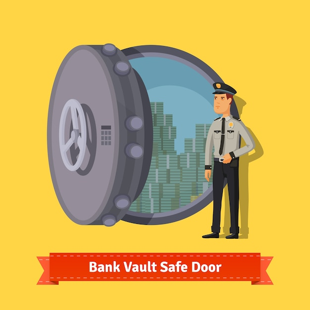 Bank vault room safe door with a officer guard Free Vector