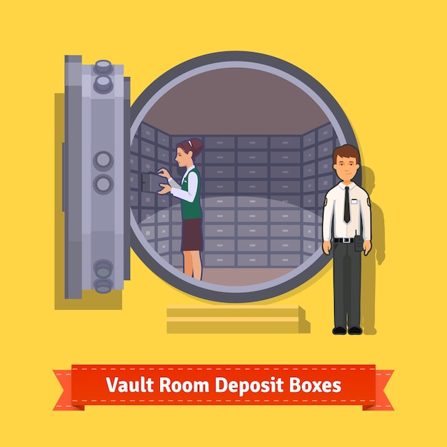 Stanza con porta blindata con cassetta di sicurezza Vettore gratuito