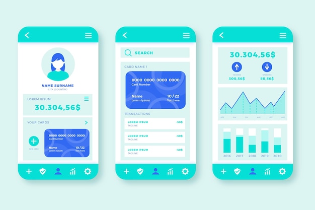 Banking app interface concept Free Vector
