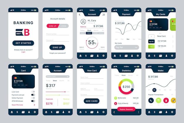 銀行アプリのインターフェース設計 無料ベクター