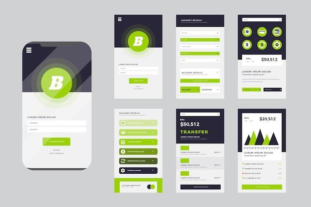 Set di interfacce per app bancarie Vettore gratuito