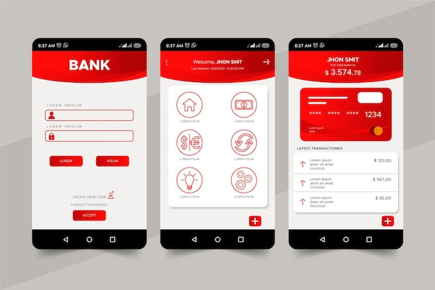 Banking app interface template Free Vector