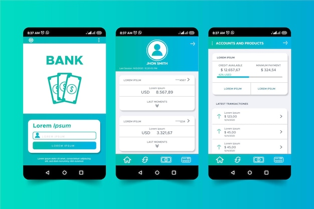 Banking app interface Free Vector