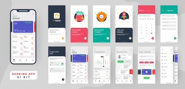 Banking app ui kit. Premium Vector
