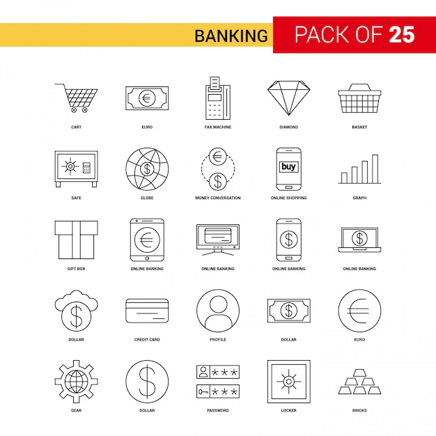 Banking black line icon - 25 business outline icon set Free Vector
