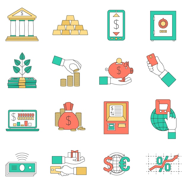 Banking business icons set Free Vector