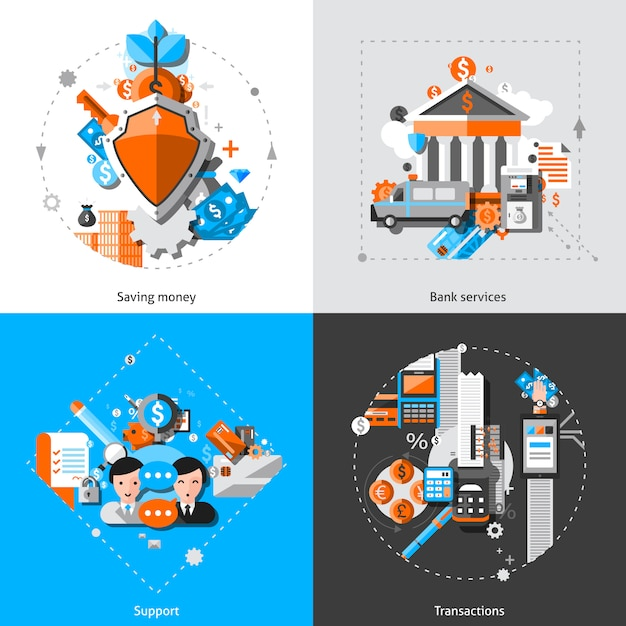 Banking concept icons Free Vector