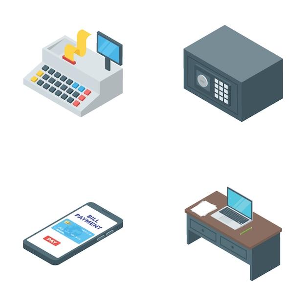 Banking and finance isometric vectors Premium Vector
