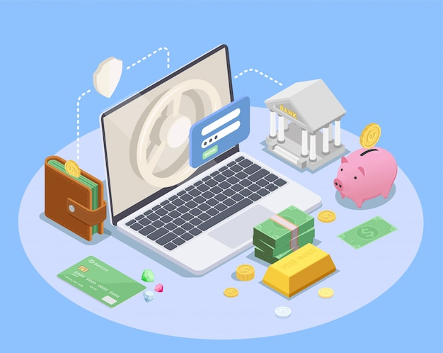 Banking financial isometric composition with images of laptop computer icons of still bank wallet and money vector illustration Free Vector